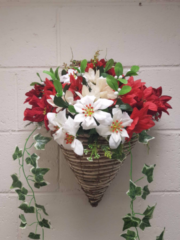 Deluxe Wall mounted Red and White Poinsettia, With Ivy, Pine, Cones and Mistletoe (WITH FREE WREATH) (2)